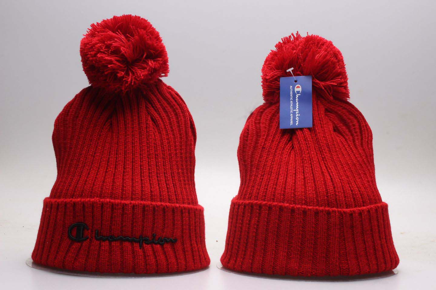 Champion Red Fashion Sport Pom Knit Hat YP