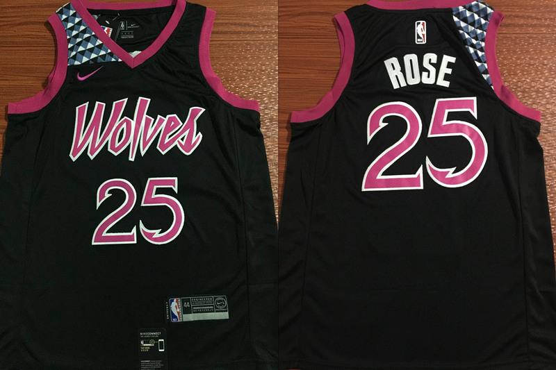 Timberwolves 25 Derrick Rose Black 2018-19 City Edition Nike Swingman Jersey