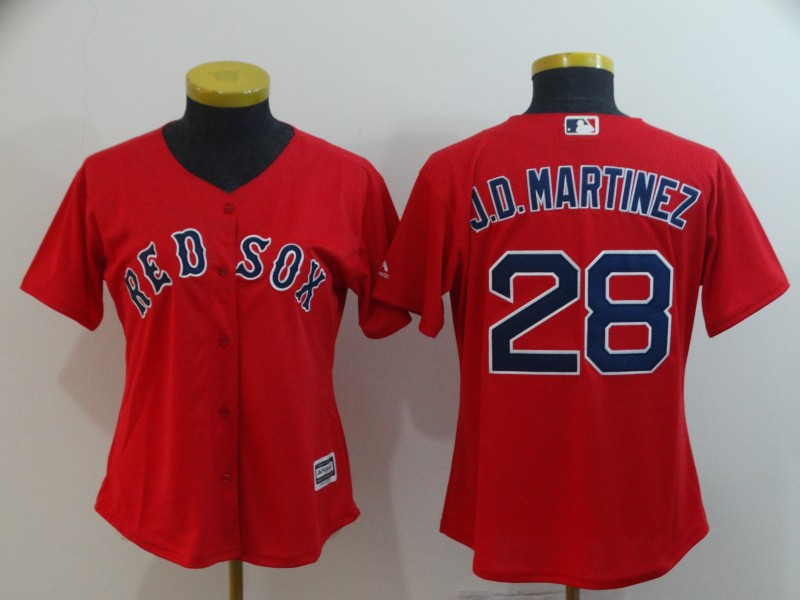 Red Sox 28 J.D. Martinez Red Women Cool Base Jersey