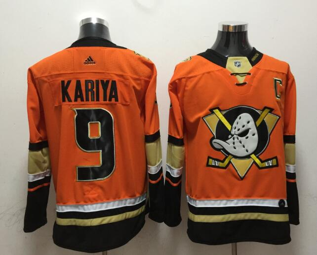 Ducks 9 Paul Kariya Orange Adidas Jersey