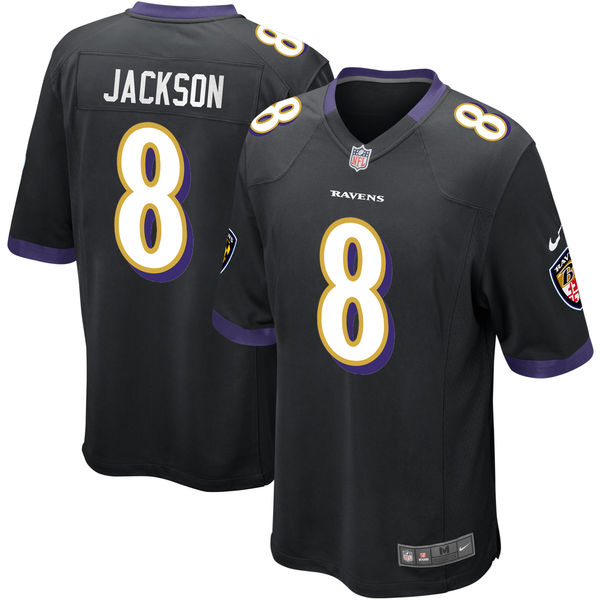 Nike Ravens 8 Lamar Jackson Black 2018 NFL Draft Pick Elite Jersey