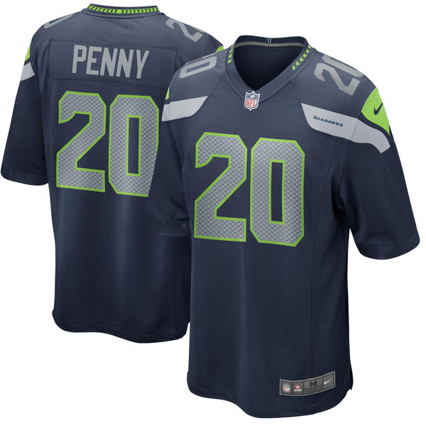 Nike Seahawks 20 Rashaad Penny Navy 2018 NFL Draft Pick Elite Jersey