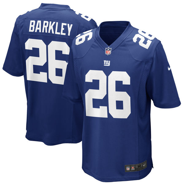 Nike Giants 26 Saquon Barkley Royal Youth 2018 Draft Pick Game Jersey