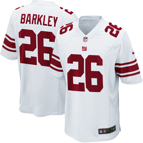 Nike Giants 26 Saquon Barkley White Youth 2018 Draft Pick Game Jersey