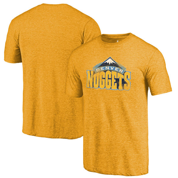Denver Nuggets Fanatics Branded Gold Distressed Logo Tri-Blend T-Shirt