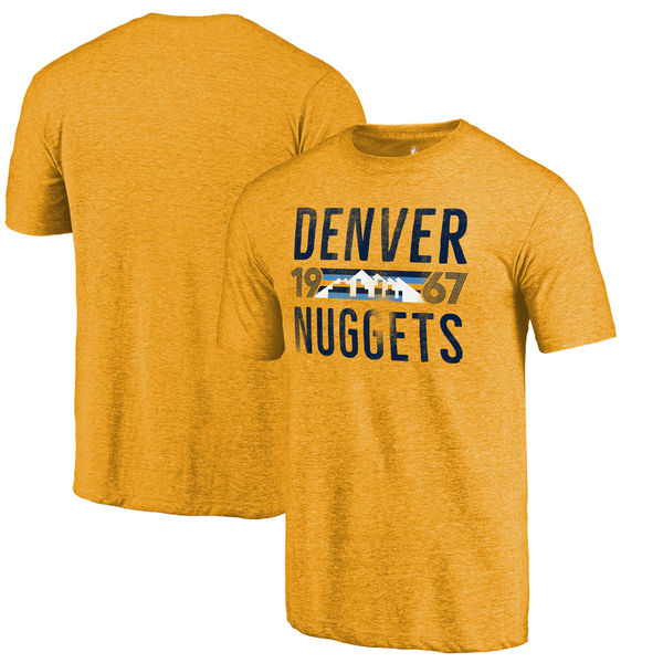 Denver Nuggets Fanatics Branded Gold Mountain Range Hometown Collection Tri-Blend T-Shirt