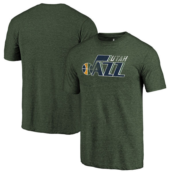 Utah Jazz Fanatics Branded Green Distressed Logo Tri-Blend T-Shirt