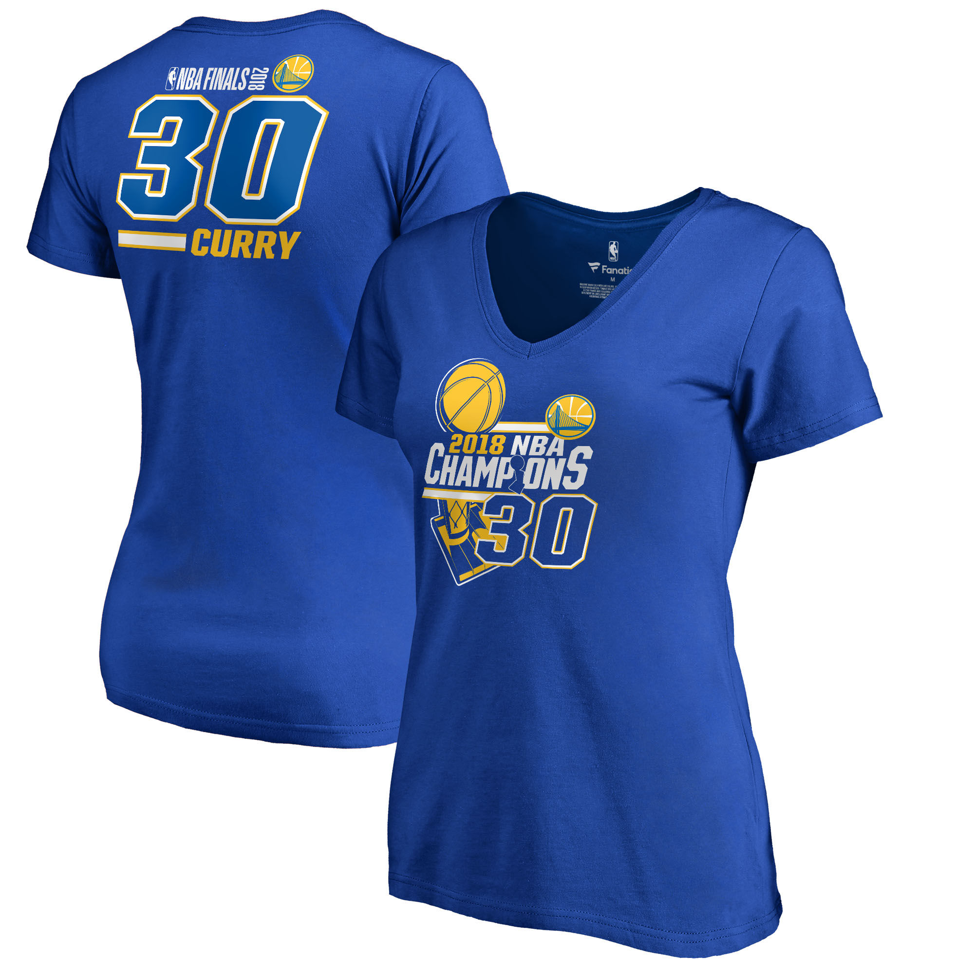 Golden State Warriors Stephen Curry Fanatics Branded Women's 2018 NBA Finals Champions Name and Number V-Neck T-Shirt Royal