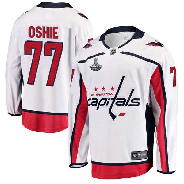 Capitals 77 T.J. Oshie White 2018 Stanley Cup Champions Adidas Jersey