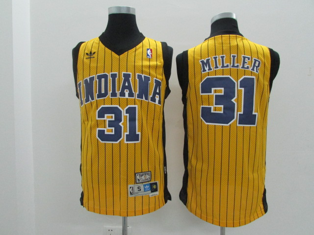 Pacers 31 Reggie Miller Yellow Hardwood Classics Jersey