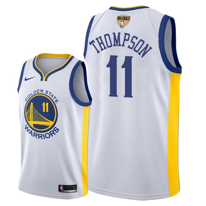 Warriors 11 Klay Thompson White 2018 NBA Finals Nike Swingman Jersey