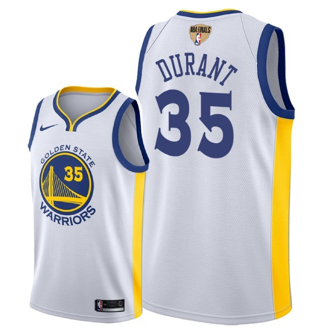 Warriors 35 Kevin Durant White 2018 NBA Finals Nike Swingman Jersey