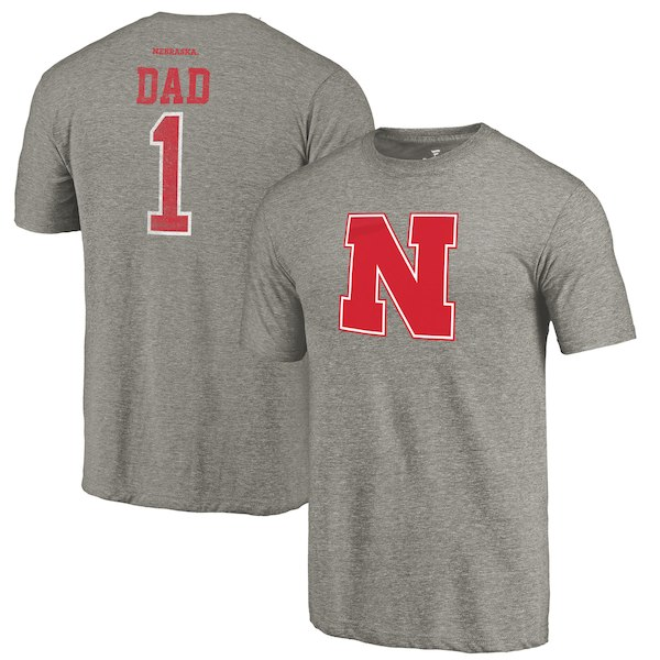 Nebraska Cornhuskers Fanatics Branded Gray Greatest Dad Tri-Blend T-Shirt