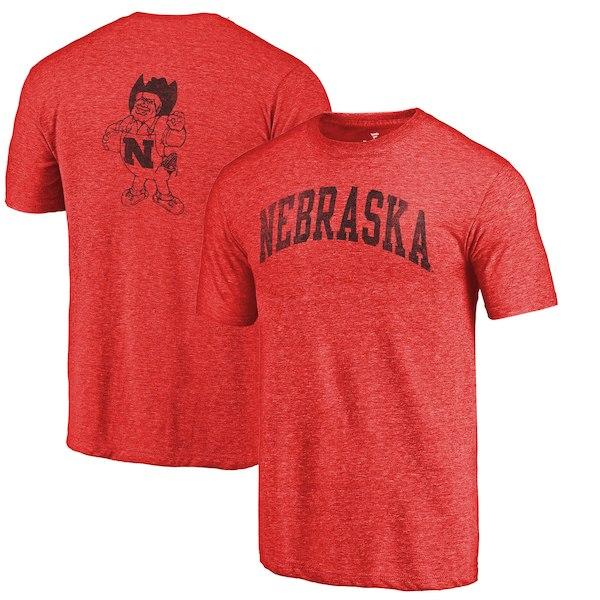 Nebraska Cornhuskers Fanatics Branded Heathered Scarlet Vault Two Hit Arch T-Shirt