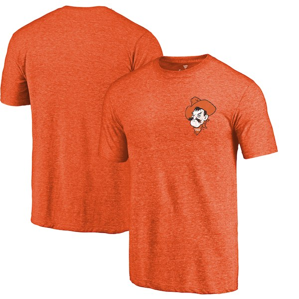 Oklahoma State Cowboys Fanatics Branded Orange Heather Left Chest Distressed Logo Tri-Blend T-Shirt