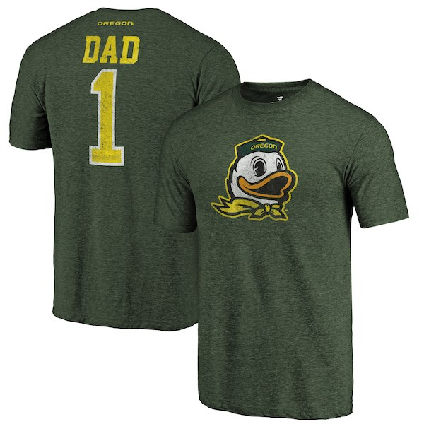 Oregon Ducks Fanatics Branded Green Greatest Dad Tri-Blend T-Shirt