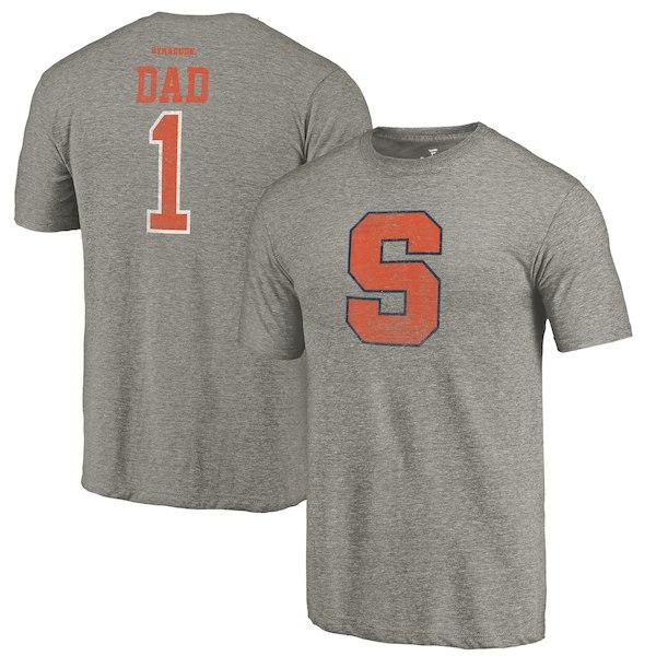 Syracuse Orange Fanatics Branded Gray Greatest Dad Tri-Blend T-Shirt