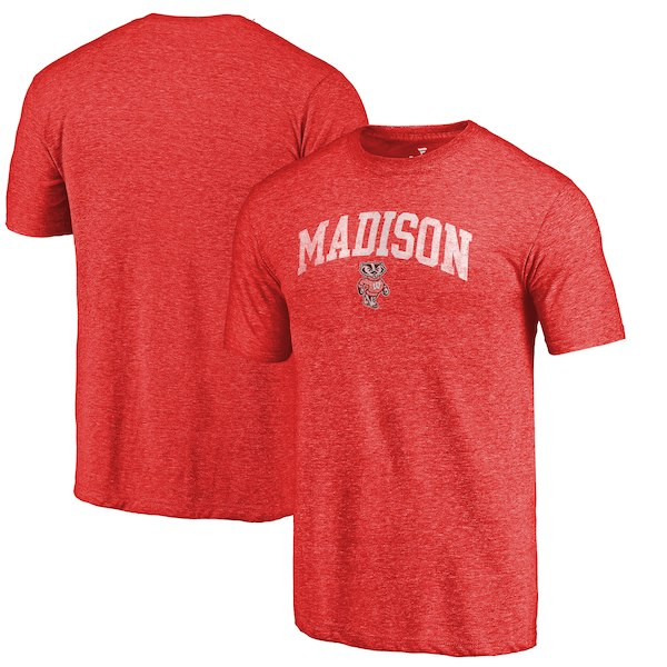 Wisconsin Badgers Fanatics Branded Heathered Red Hometown Arched City Tri-Blend T-Shirt