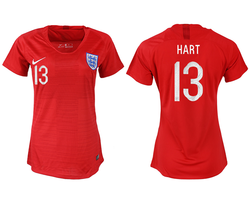 England 13 HART Away Women 2018 FIFA World Cup Soccer Jersey