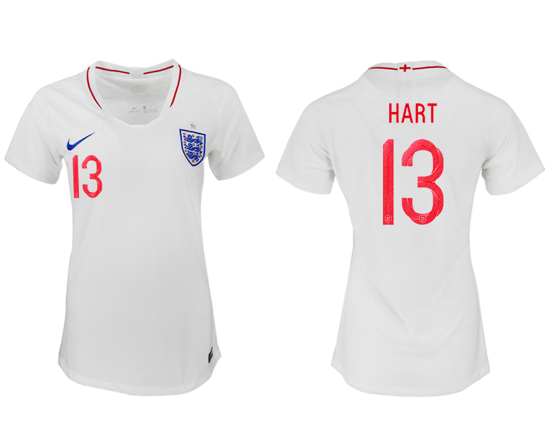 England 13 HART Home Women 2018 FIFA World Cup Soccer Jersey