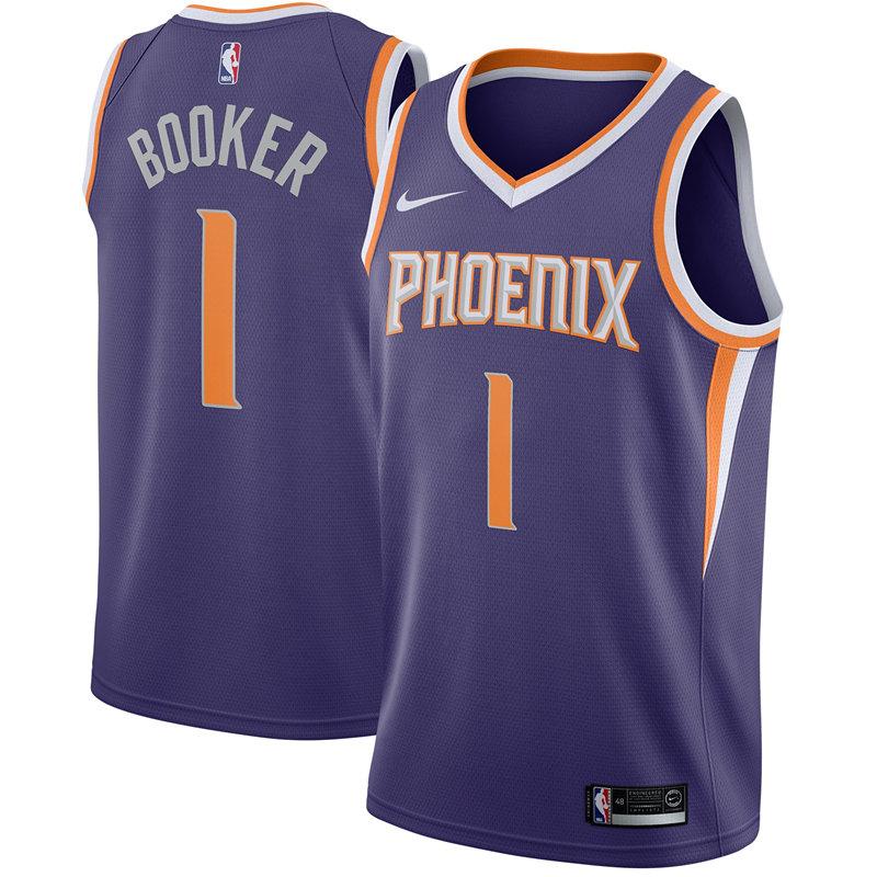 Suns 1 Devin Booker Purple Nike Swingman Jersey