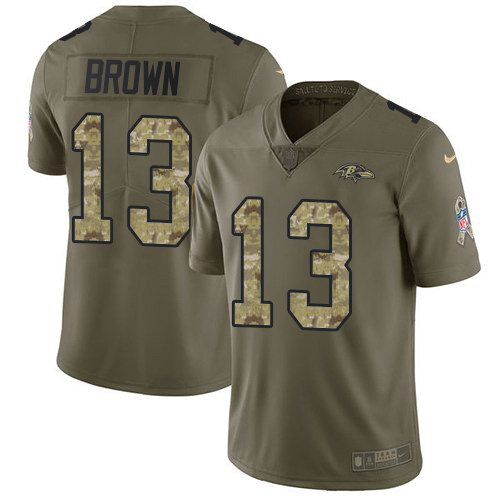 Nike Ravens 13 John Brown Olive Camo Salute To Service Limited Jersey