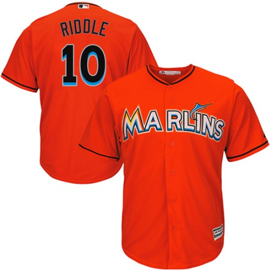 Marlins 10 JT Riddle Orange Cool Base Jersey