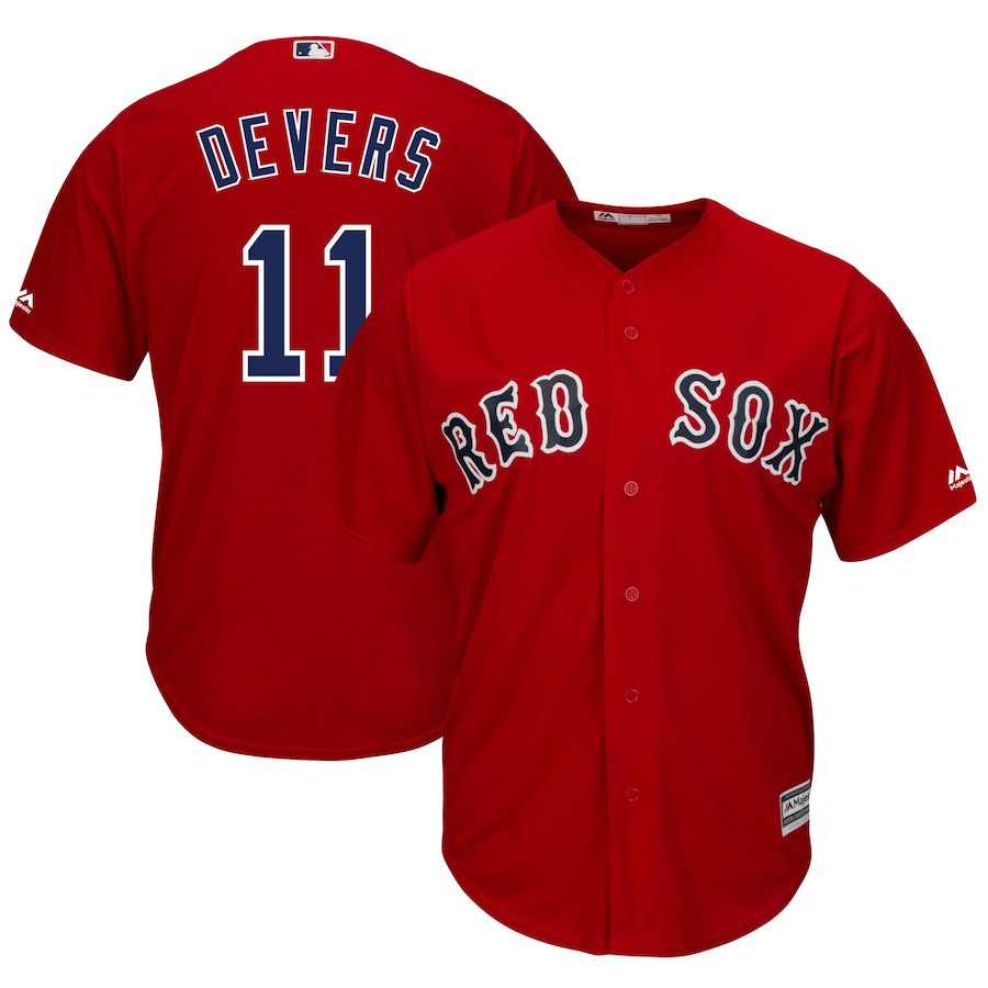 Red Sox 11 Rafael Devers Red Cool Base Jersey