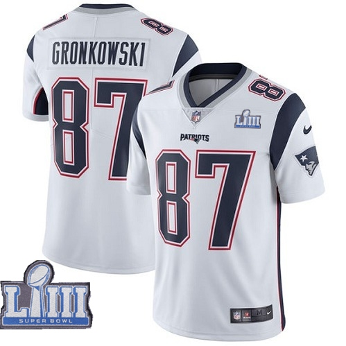 Nike Patriots 87 Rob Gronkowski White Youth 2019 Super Bowl LIII Vapor Untouchable Limited Jersey