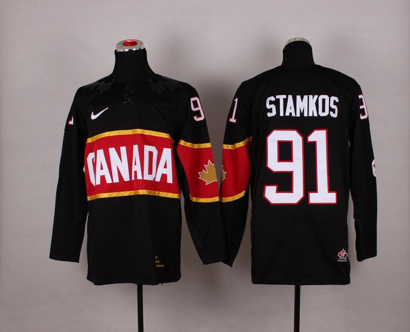 Canada 91 Stamkos Black 2014 Olympics Jerseys