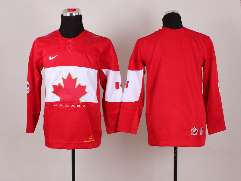 Canada Blank Red 2014 Olympics Kids Jersey