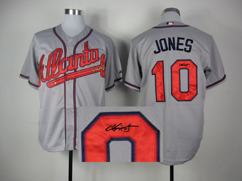 Braves 10 Jones Grey Signature Edition Jerseys