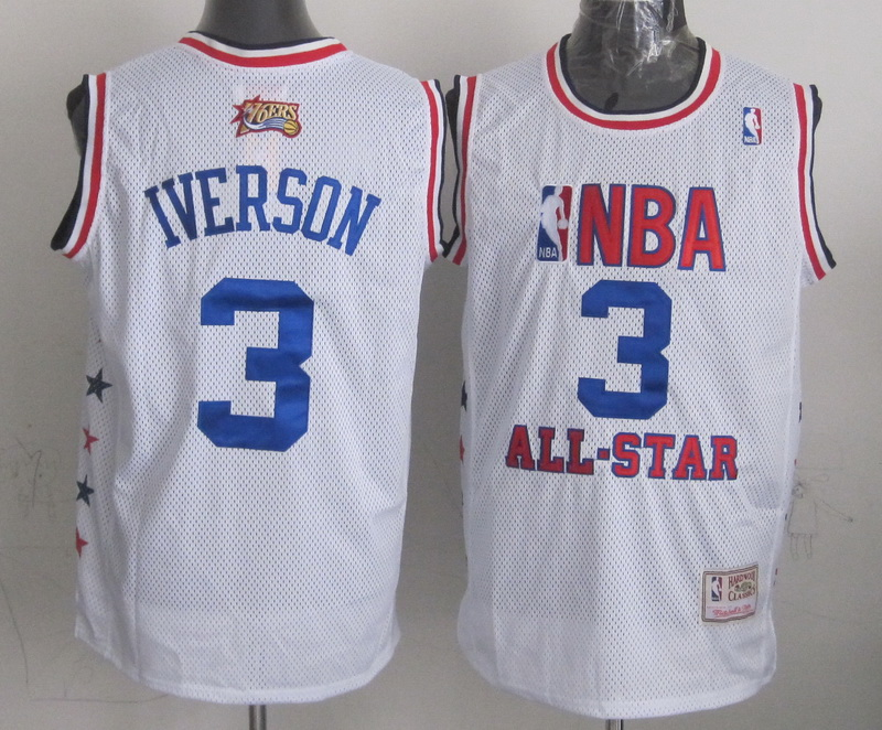 2003 All Star 3 Iverson White Hardwwod Classics Jerseys