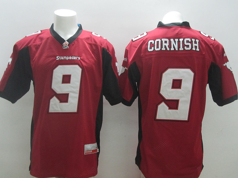 Reebok CFL Stampeders 9 Cornish Red Jerseys