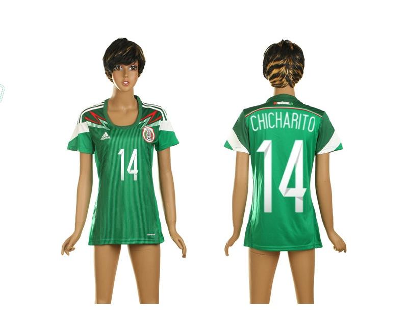 Mexico 14 Chicharito World Cup Home Soccer Women Jerseys