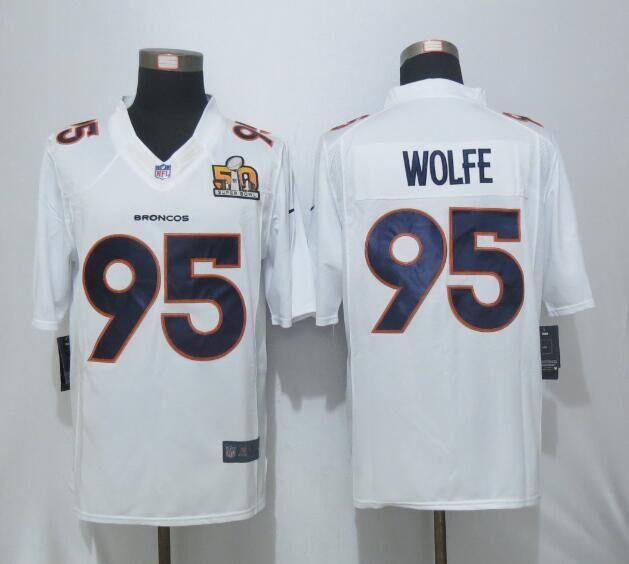 Nike Broncos 95 Derek Wolfe White Super Bowl 50 Bound Game Event Jersey