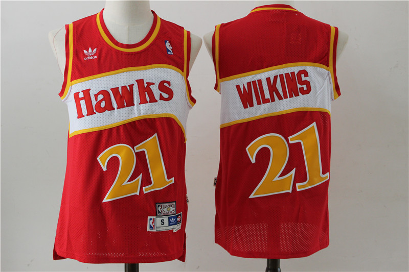 Hawks 21 Dominique Wilkins Red Hardwood Classics Jersey