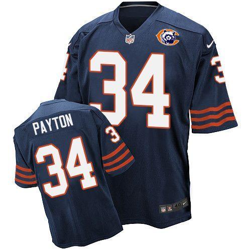 Nike Bears 34 Walter Payton Blue Throwback Elite Jersey
