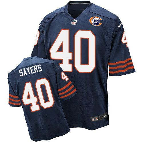 Nike Bears 40 Gale Sayers Blue Throwback Elite Jersey