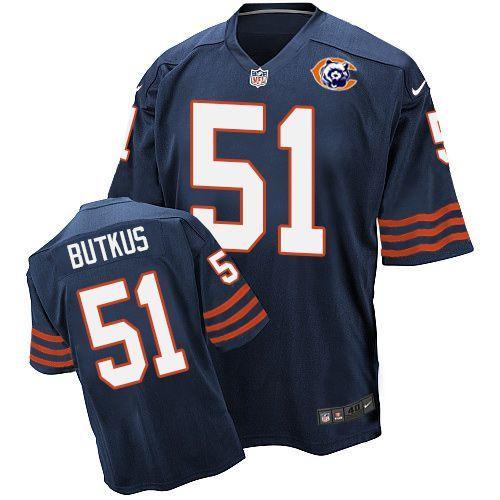 Nike Bears 51 Dick Butkus Blue Throwback Elite Jersey