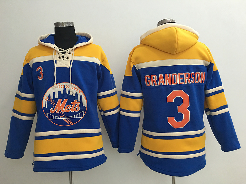 Mets 3 Curtis Granderson Blue All Stitched Hooded Sweatshirt