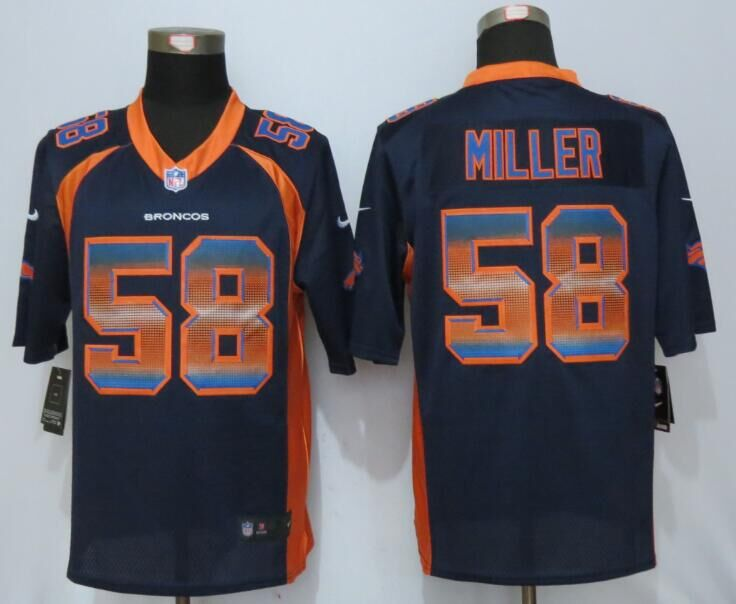 Nike Broncos 58 Von Miller Blue Pro Line Fashion Strobe Jersey