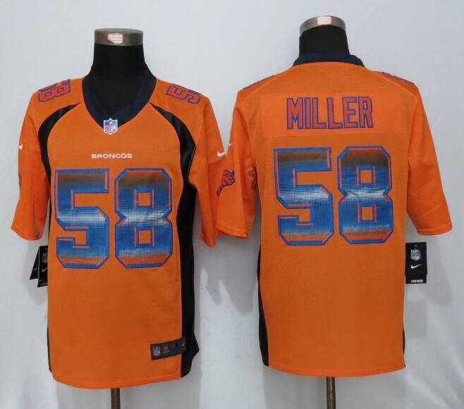 Nike Broncos 58 Von Miller Orange Pro Line Fashion Strobe Jersey