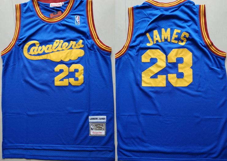 Cavaliers 23 Lebron James Blue Hardwood Classics Jersey
