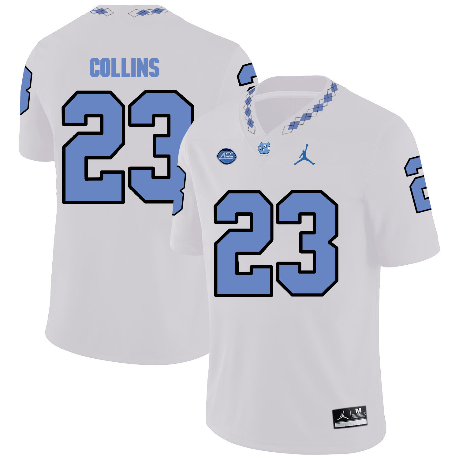 North Carolina Tar Heels 23 David Collins White College Football Jersey