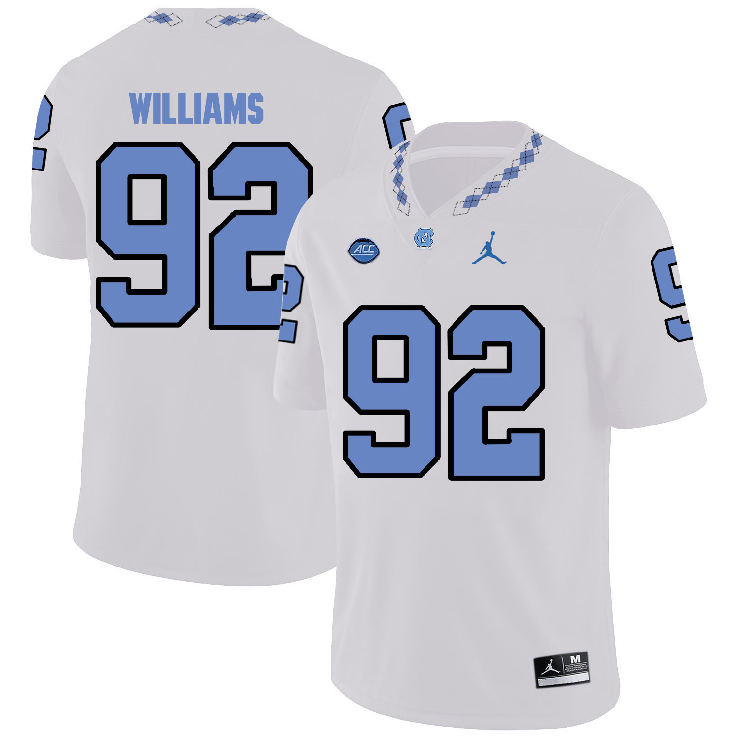 North Carolina Tar Heels 92 Sylvester Williams White College Football Jersey