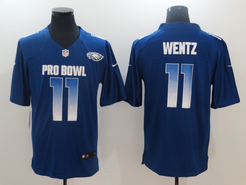 Nike NFC Eagles 11 Carson Wentz Royal 2018 Pro Bowl Game Jersey