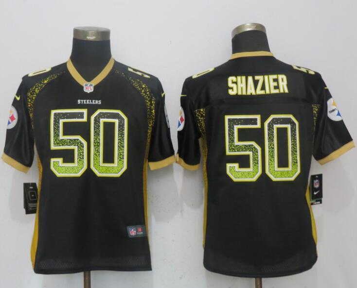 Nike Steelers 50 Ryan Shazier Black Women Drift Fashion Jersey