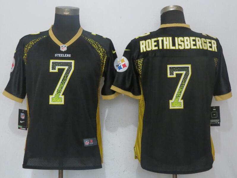 Nike Steelers 7 Ben Roethlisberger Black Women Drift Fashion Jersey