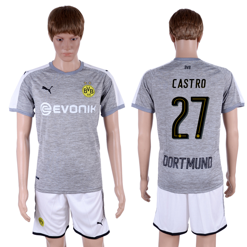 2017-18 Dortmund 27 CASTRO Third Away Soccer Jersey